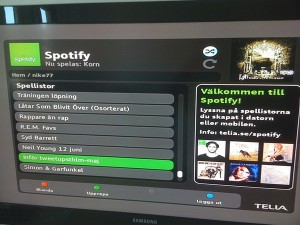 Spotify spellistor i Teliaboxen