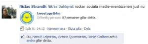 Niclas Strandh Facebook Länkkommentar 20100603